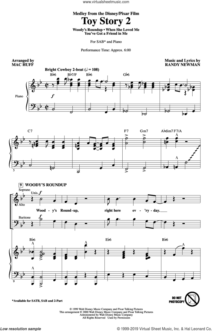 Toy Story 2 (Medley) (arr. Mac Huff) sheet music for choir (SAB: soprano, alto, bass) by Randy Newman, Mac Huff and Sarah McLachlan, intermediate skill level