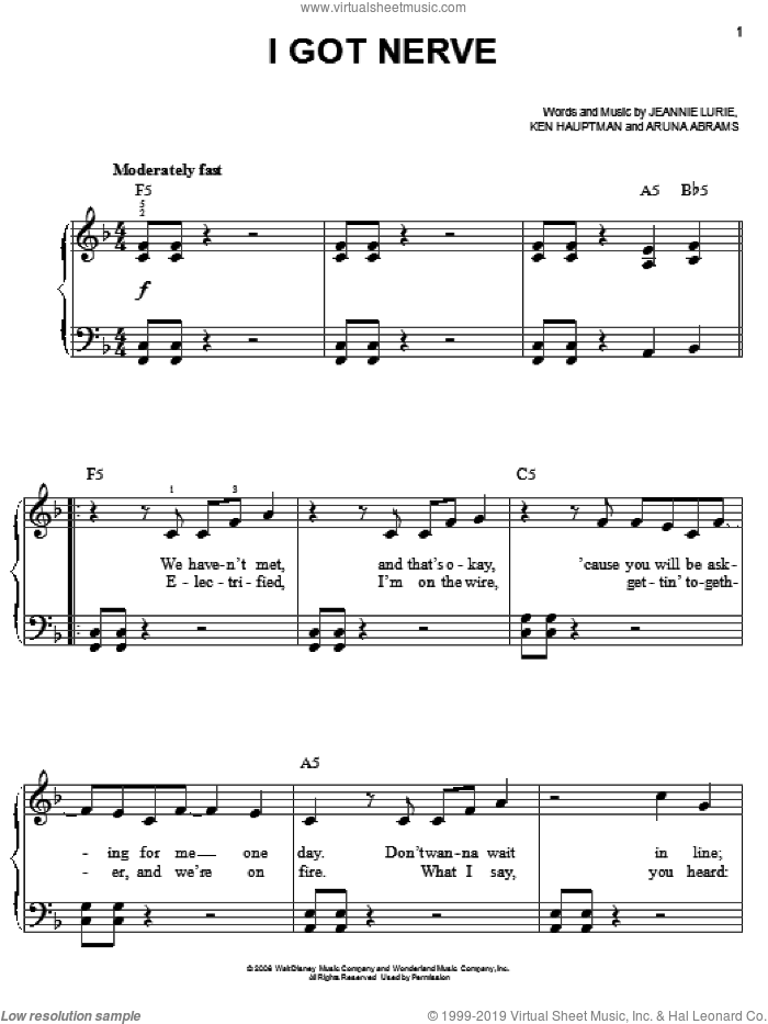 I Got Nerve sheet music for piano solo by Hannah Montana, Miley Cyrus, Aruna Abrams, Jeannie Lurie and Ken Hauptman, easy skill level