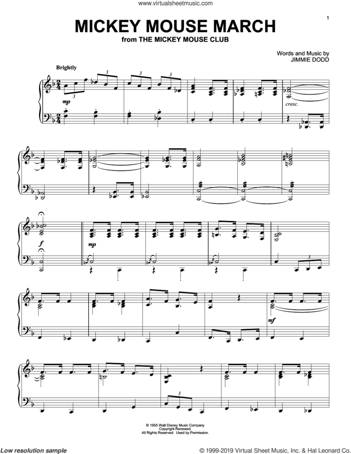 Mickey Mouse March sheet music for piano solo by Jimmie Dodd, intermediate skill level