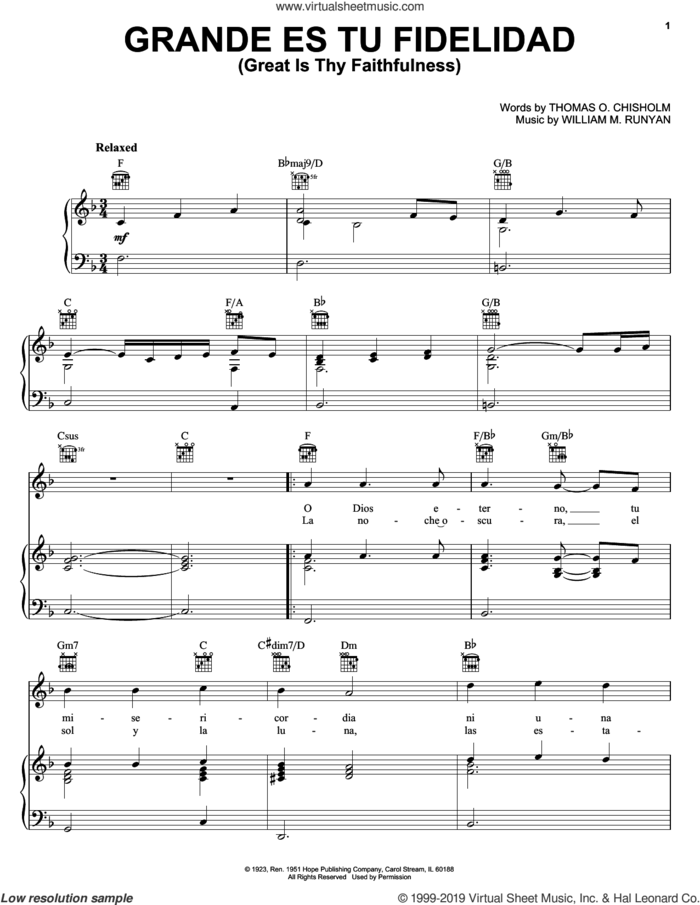 Grande Es Tu Fidelidad (Great Is Thy Faithfulness) sheet music for voice, piano or guitar by Blest, Thomas O. Chisholm and William M. Runyan, intermediate skill level