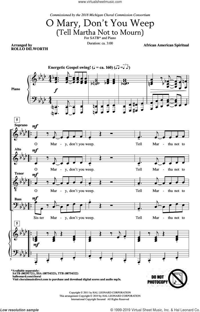 O Mary, Don't You Weep (Tell Martha Not to Mourn) (arr. Rollo Dilworth) sheet music for choir (SATB: soprano, alto, tenor, bass)  and Rollo Dilworth, intermediate skill level