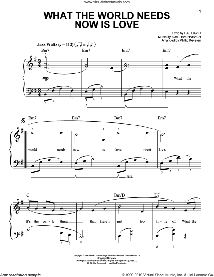 What The World Needs Now Is Love (arr. Phillip Keveren) sheet music for piano solo by Bacharach & David, Phillip Keveren, Burt Bacharach and Hal David, easy skill level