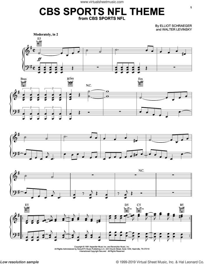 CBS Sports NFL Theme, (intermediate) sheet music for piano solo by Walter Levinsky and Elliot Schraeger, intermediate skill level
