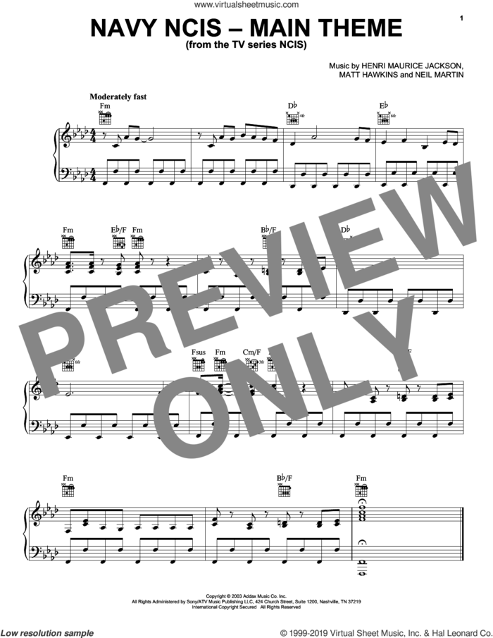 Navy NCIS (Main Theme) sheet music for piano solo by Numeriklab, Henri Maurice Jackson, Matt Hawkins and Neil Martin, intermediate skill level