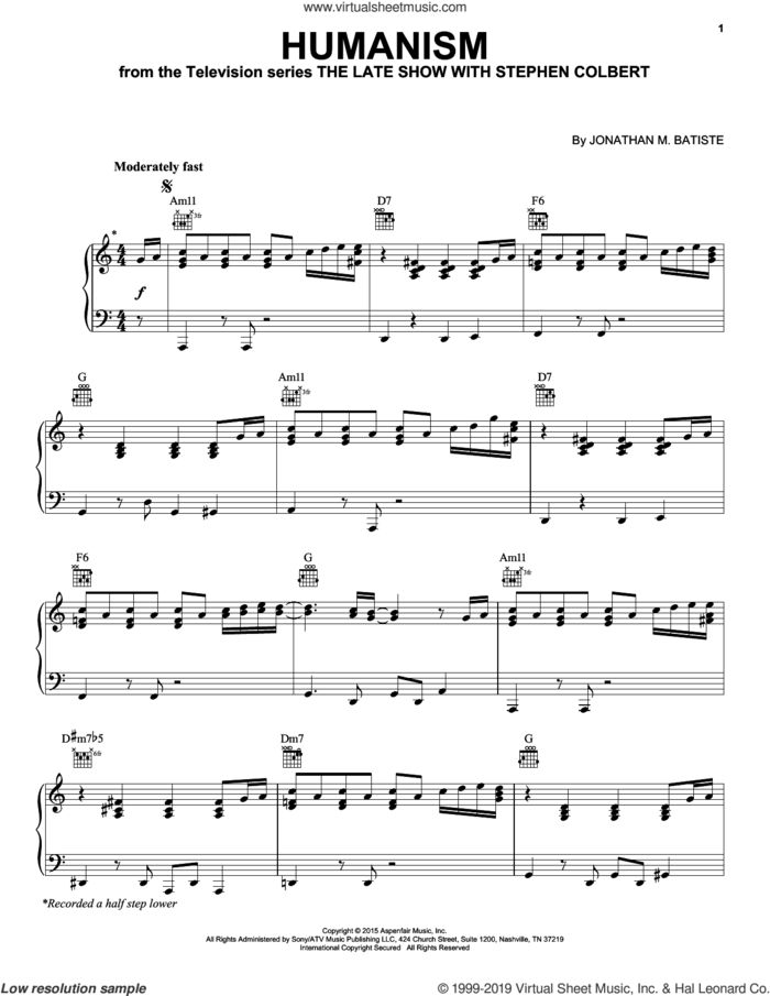Humanism (from The Late Show with Stephen Colbert) sheet music for piano solo by Jon Batiste and Jonathan M. Batiste, intermediate skill level