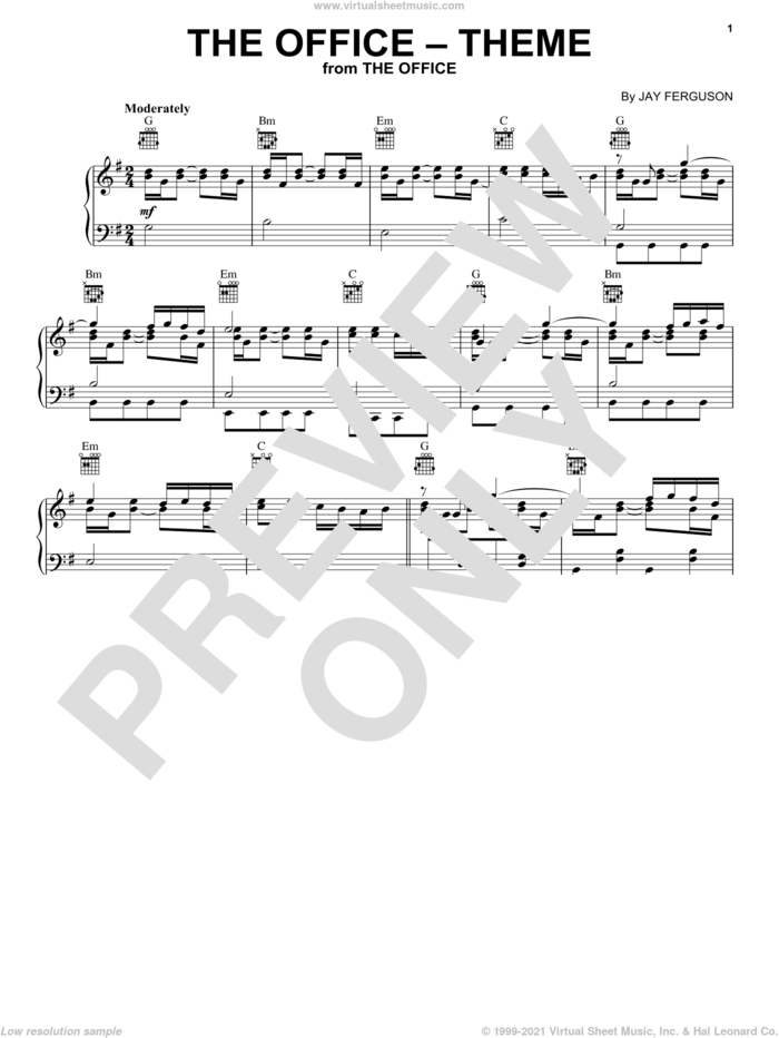 The Office (Theme) sheet music for piano solo by Jay Ferguson, intermediate skill level