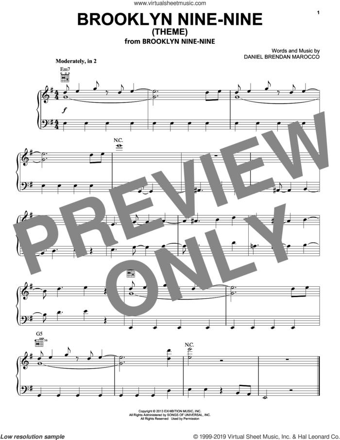 Brooklyn Nine-Nine (Theme) sheet music for piano solo by Stuart Petty and Daniel Brendan Marocco, intermediate skill level