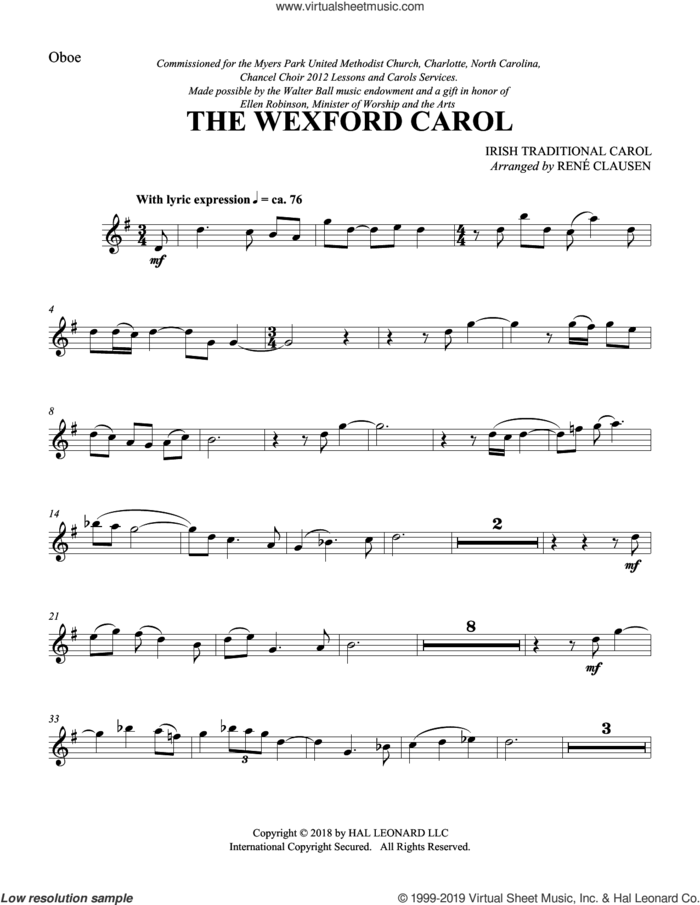 The Wexford Carol (arr. Rene Clausen) (complete set of parts) sheet music for orchestra/band by Rene Clausen and Miscellaneous, intermediate skill level