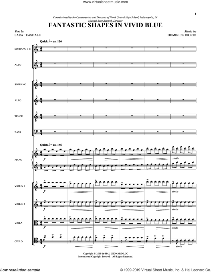 Fantastic Shapes in Vivid Blue (COMPLETE) sheet music for orchestra/band by Sara Teasdale and Dominick DiOrio, intermediate skill level