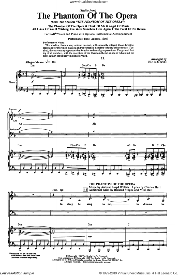The Phantom Of The Opera (Medley) (arr. Ed Lojeski) sheet music for choir (SAB: soprano, alto, bass) by Andrew Lloyd Webber, Ed Lojeski, Charles Hart and Richard Stilgoe, intermediate skill level