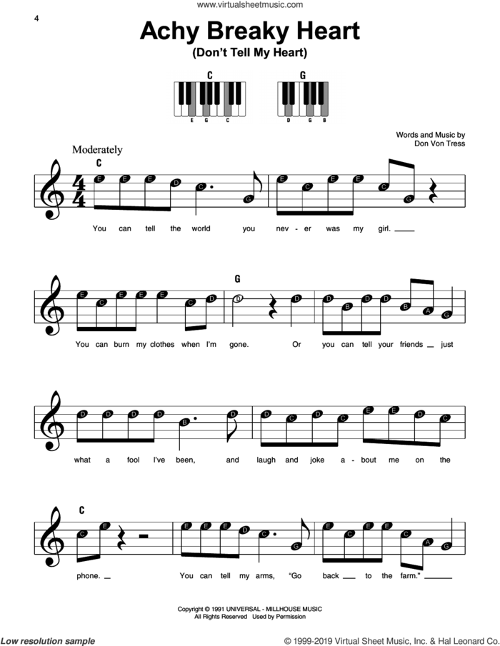 Achy Breaky Heart (Don't Tell My Heart) sheet music for piano solo by Billy Ray Cyrus and Don Von Tress, beginner skill level