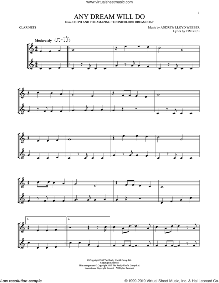 Any Dream Will Do (from Joseph And The Amazing Technicolor Dreamcoat) sheet music for two clarinets (duets) by Andrew Lloyd Webber and Tim Rice, intermediate skill level