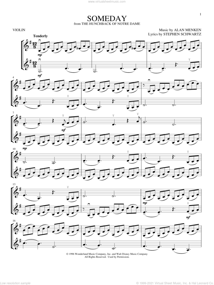 Someday sheet music for two violins (duets, violin duets) by Alan Menken and Stephen Schwartz, intermediate skill level