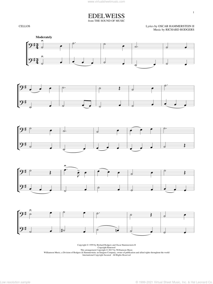 Edelweiss (from The Sound of Music) sheet music for two cellos (duet, duets) by Rodgers & Hammerstein, Oscar II Hammerstein and Richard Rodgers, intermediate skill level