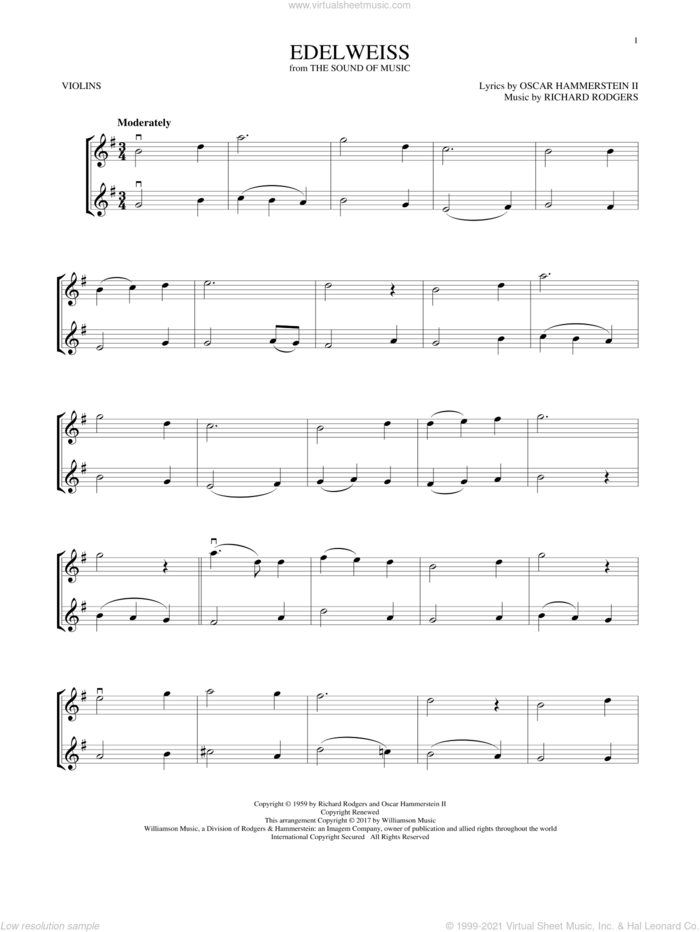 Edelweiss (from The Sound of Music) sheet music for two violins (duets, violin duets) by Rodgers & Hammerstein, Oscar II Hammerstein and Richard Rodgers, intermediate skill level