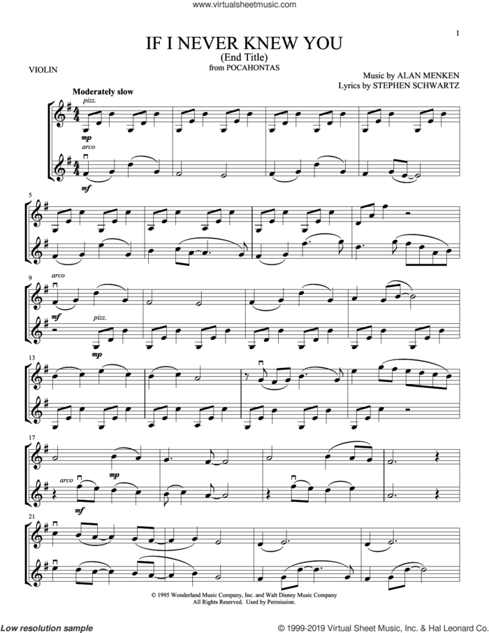 If I Never Knew You (End Title) sheet music for two violins (duets, violin duets) by Jon Secada and Shanice, Alan Menken and Stephen Schwartz, intermediate skill level