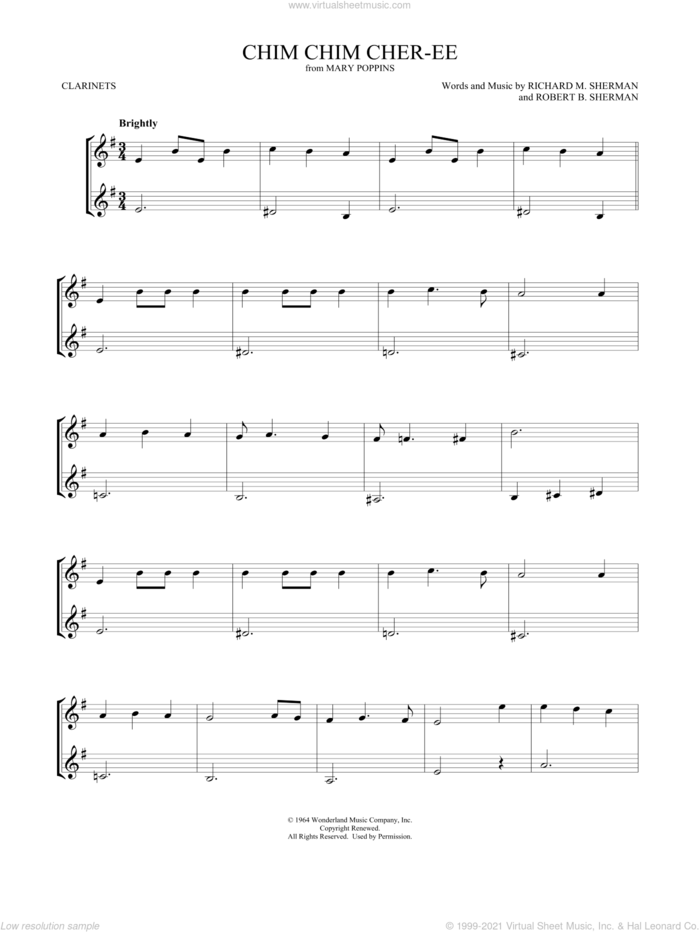Chim Chim Cher-ee (from Mary Poppins) sheet music for two clarinets (duets) by Dick Van Dyke, Mark Phillips, Richard M. Sherman and Robert B. Sherman, intermediate skill level