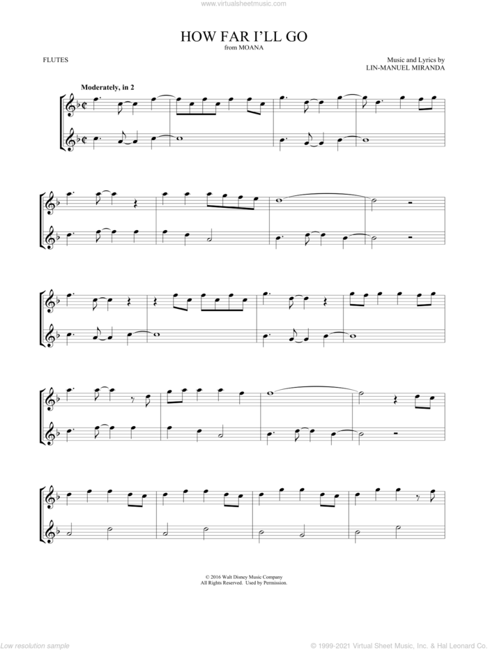 How Far I'll Go (from Moana) sheet music for two flutes (duets) by Lin-Manuel Miranda and Mark Phillips, intermediate skill level