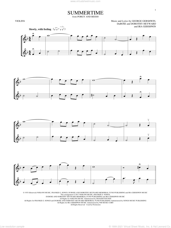 Summertime (from Porgy and Bess) sheet music for two violins (duets, violin duets) , Dorothy Heyward, DuBose Heyward, George Gershwin and Ira Gershwin, intermediate skill level