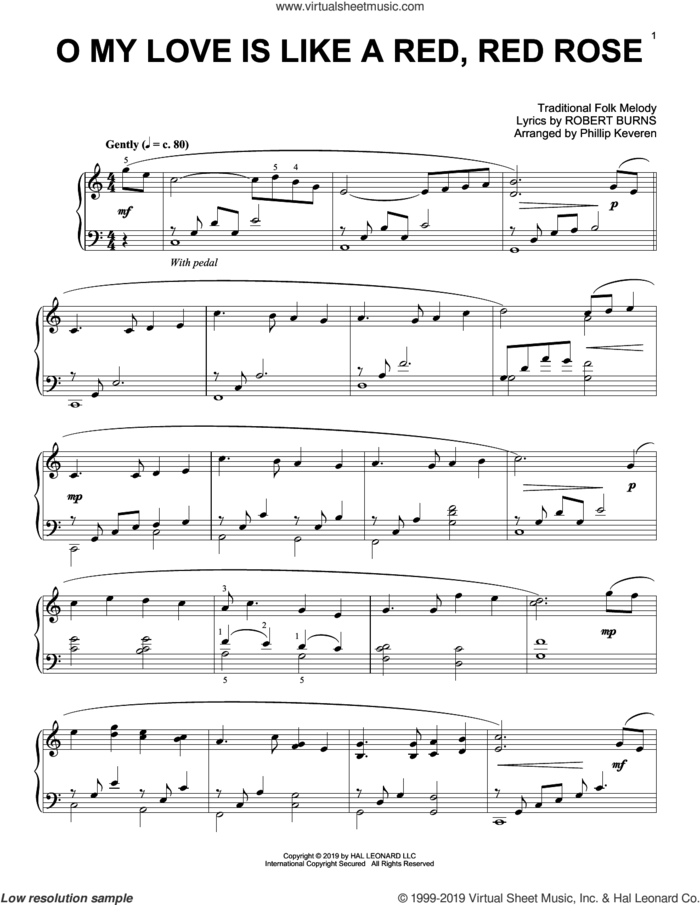 O My Love Is Like A Red, Red Rose (arr. Phillip Keveren) sheet music for piano solo by Robert Burns, Phillip Keveren and Miscellaneous, intermediate skill level