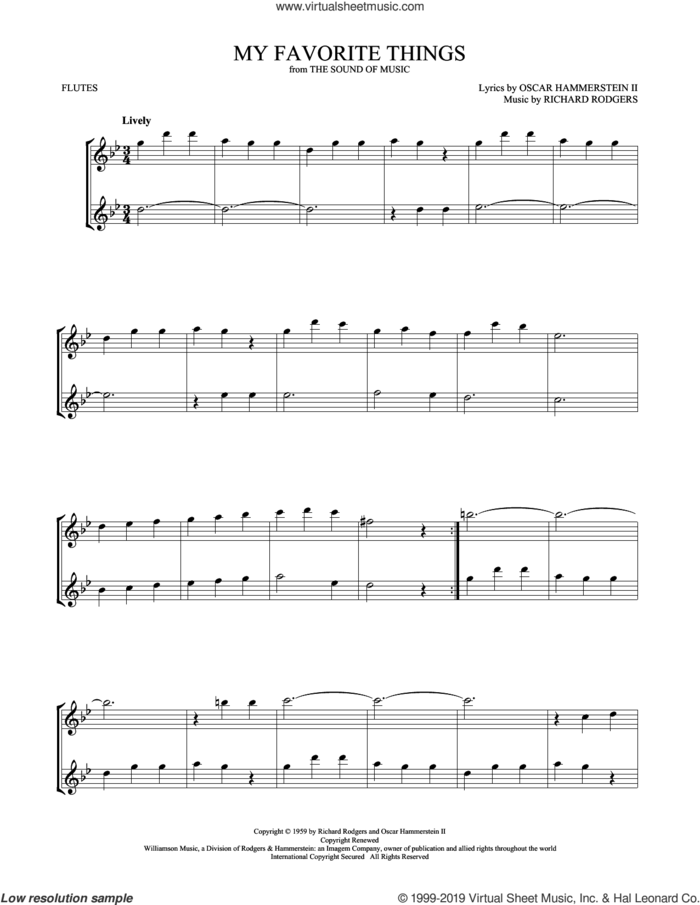 My Favorite Things (from The Sound Of Music) sheet music for two flutes (duets) by Julie Andrews, Oscar II Hammerstein and Richard Rodgers, intermediate skill level