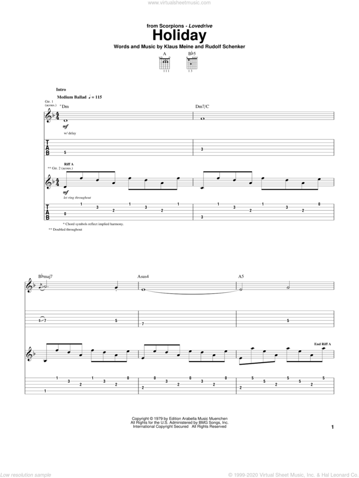 Holiday sheet music for guitar (tablature) by Scorpions, Klaus Meine and Rudolf Schenker, intermediate skill level