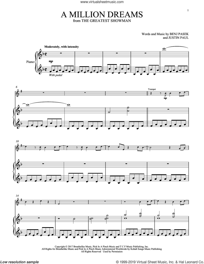 A Million Dreams (from The Greatest Showman) sheet music for trumpet and piano by Pasek & Paul, Benj Pasek and Justin Paul, intermediate skill level