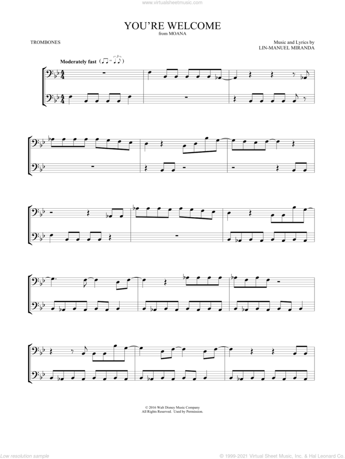 You're Welcome (from Moana) (arr. Mark Phillips) sheet music for two trombones (duet, duets) by Lin-Manuel Miranda and Mark Phillips, intermediate skill level