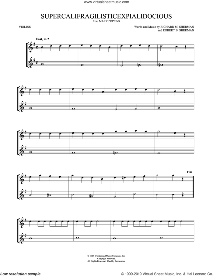Supercalifragilisticexpialidocious (from Mary Poppins) (arr. Mark Phillips) sheet music for two violins (duets, violin duets) by Richard M. Sherman, Mark Phillips, Robert B. Sherman and Sherman Brothers, intermediate skill level