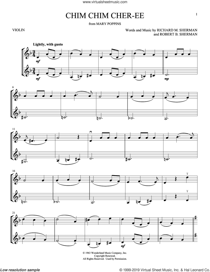Chim Chim Cher-ee (from Mary Poppins) sheet music for two violins (duets, violin duets) by Richard M. Sherman, Robert B. Sherman and Sherman Brothers, intermediate skill level