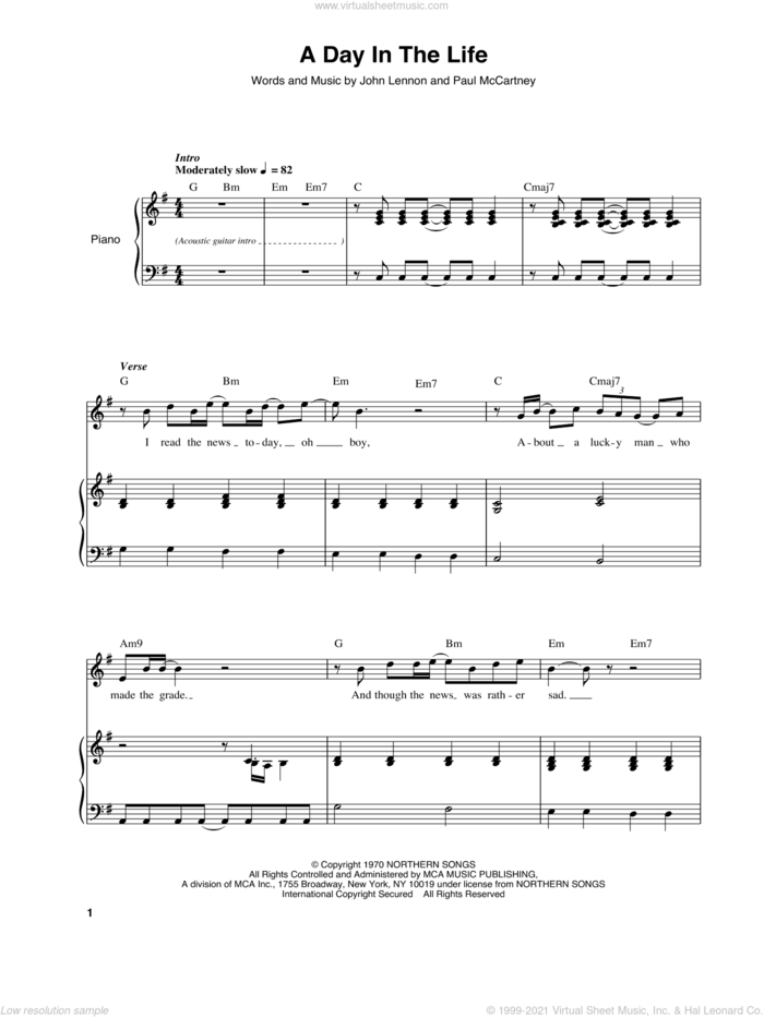 A Day In The Life sheet music for keyboard or piano by The Beatles, John Lennon and Paul McCartney, intermediate skill level