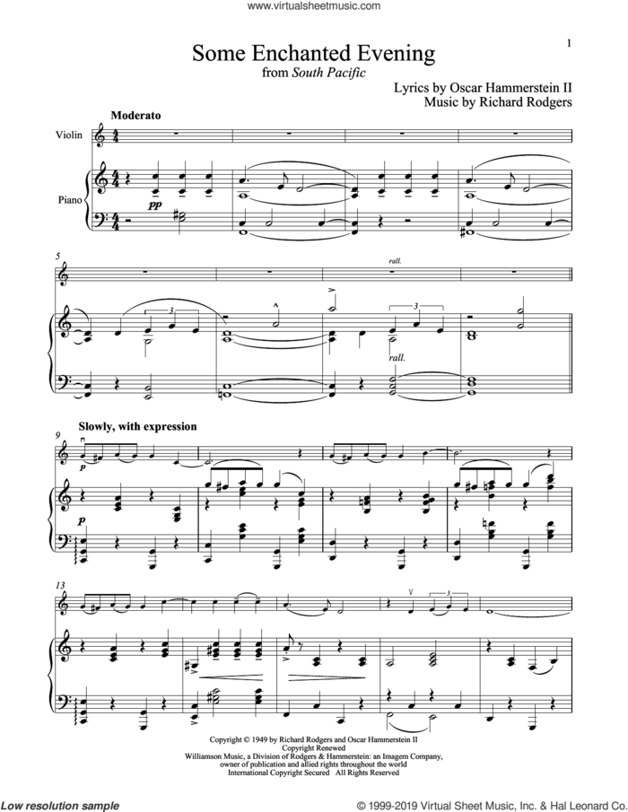 Some Enchanted Evening (from South Pacific) sheet music for violin and piano by Richard Rodgers and Oscar II Hammerstein, intermediate skill level