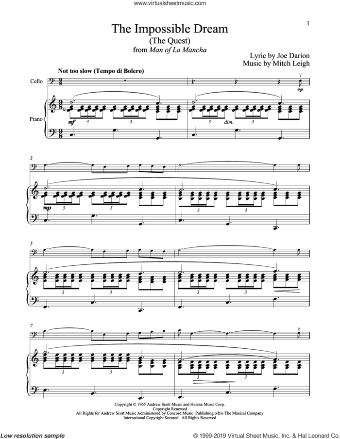 The Impossible Dream (The Quest) (from Man Of La Mancha) sheet music for cello and piano by Mitch Leigh and Joe Darion, intermediate skill level