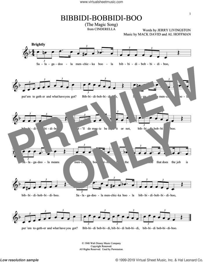 Bibbidi-Bobbidi-Boo (The Magic Song) (from Cinderella) sheet music for ocarina solo by Jerry Livingston, Al Hoffman and Mack David, intermediate skill level