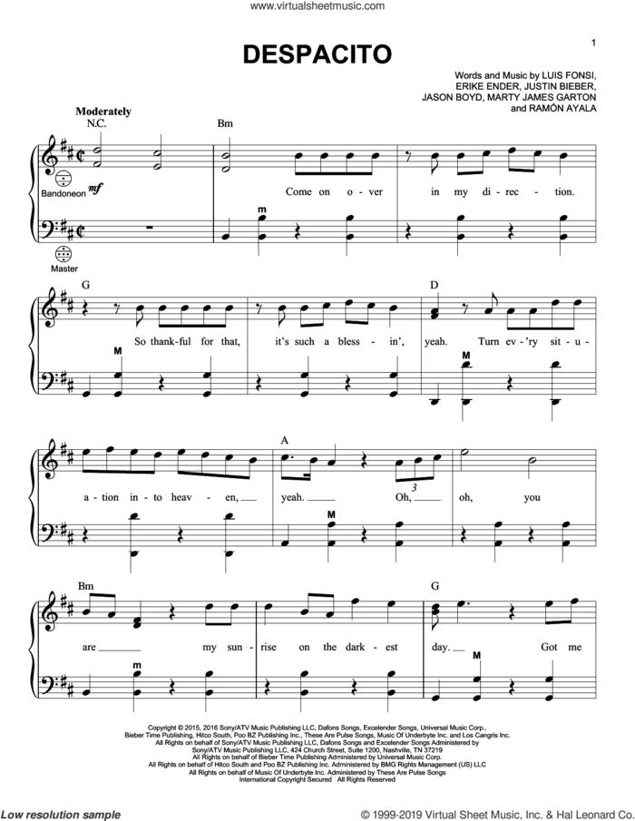 Despacito (arr. Gary Meisner) sheet music for accordion by Luis Fonsi & Daddy Yankee, Gary Meisner, Luis Fonsi & Daddy Yankee feat. Justin Bieber, Erika Ender, Luis Fonsi and Ramon Ayala, intermediate skill level