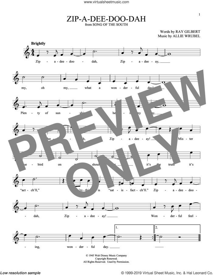 Zip-A-Dee-Doo-Dah sheet music for ocarina solo by Ray Gilbert and Allie Wrubel, intermediate skill level