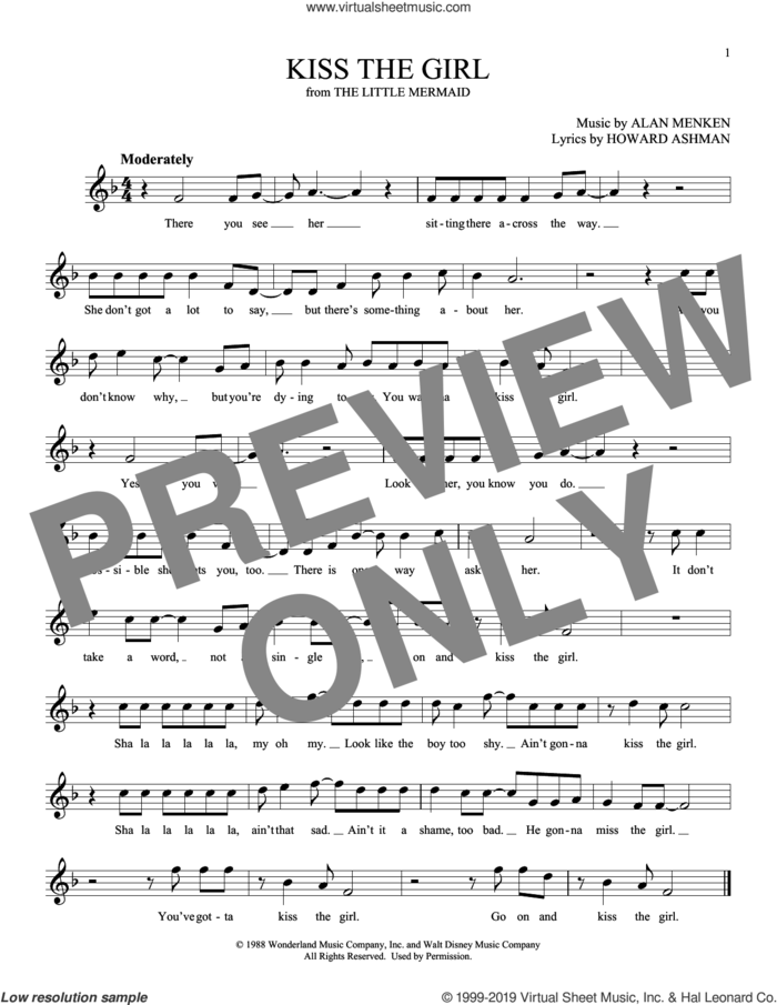 Kiss The Girl (from The Little Mermaid) sheet music for ocarina solo by Alan Menken and Howard Ashman, intermediate skill level