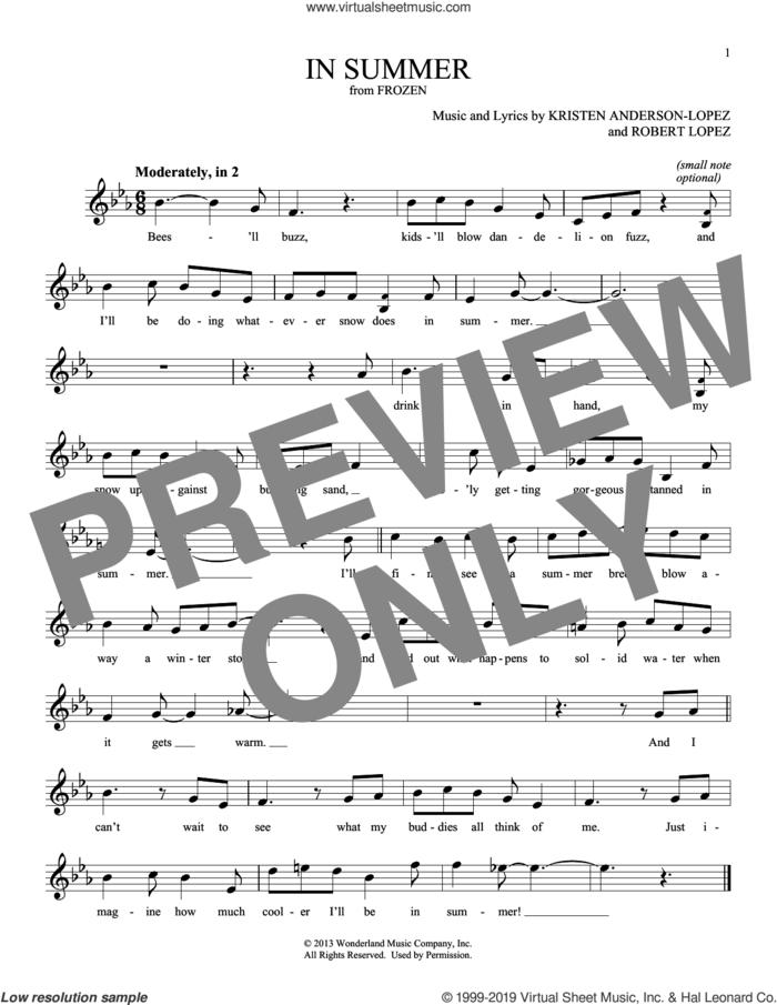 In Summer (from Disney's Frozen) sheet music for ocarina solo by Kristen Anderson-Lopez & Robert Lopez, Josh Gad, Kristen Anderson-Lopez and Robert Lopez, intermediate skill level