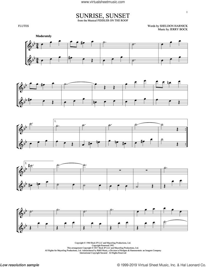 Sunrise, Sunset (from Fiddler On The Roof) sheet music for two flutes (duets) by Jerry Bock and Sheldon Harnick, intermediate skill level