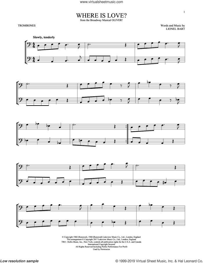 Where Is Love? (from Oliver) sheet music for two trombones (duet, duets) by Lionel Bart, intermediate skill level