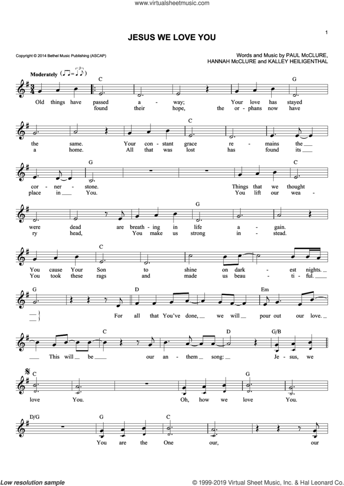Jesus We Love You sheet music for voice and other instruments (fake book) by Bethel Music, Hannah McClure, Kalley Heiligenthal and Paul McClure, intermediate skill level