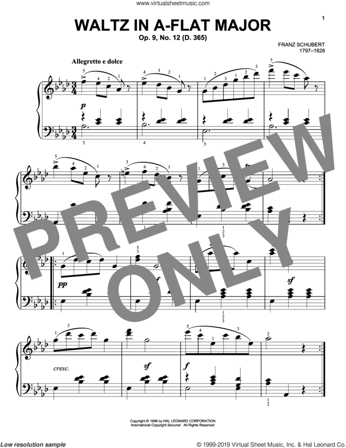 Waltz In A-Flat Major, Op. 9, No. 12 sheet music for piano solo by Franz Schubert, classical score, easy skill level