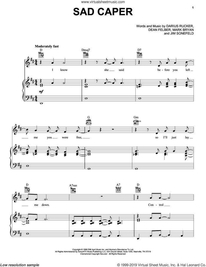 Sad Caper sheet music for voice, piano or guitar by Hootie & The Blowfish, Darius Rucker, Dean Felber, Jim Sonefeld and Mark Bryan, intermediate skill level
