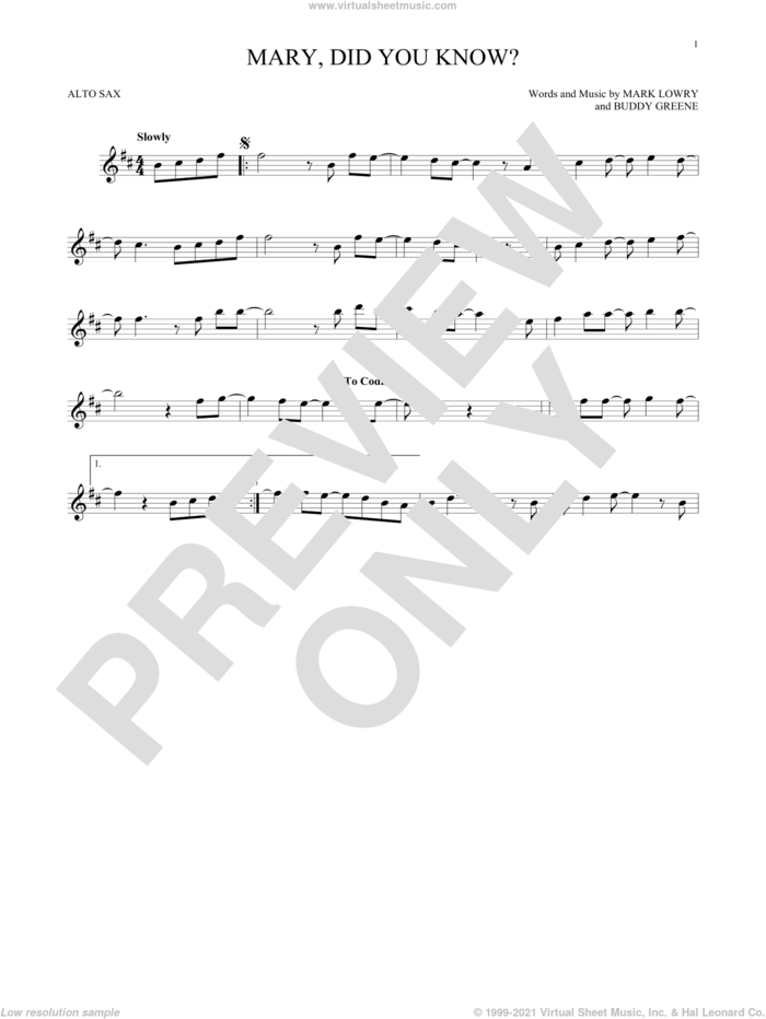Mary, Did You Know? sheet music for alto saxophone solo by Buddy Greene and Mark Lowry, intermediate skill level