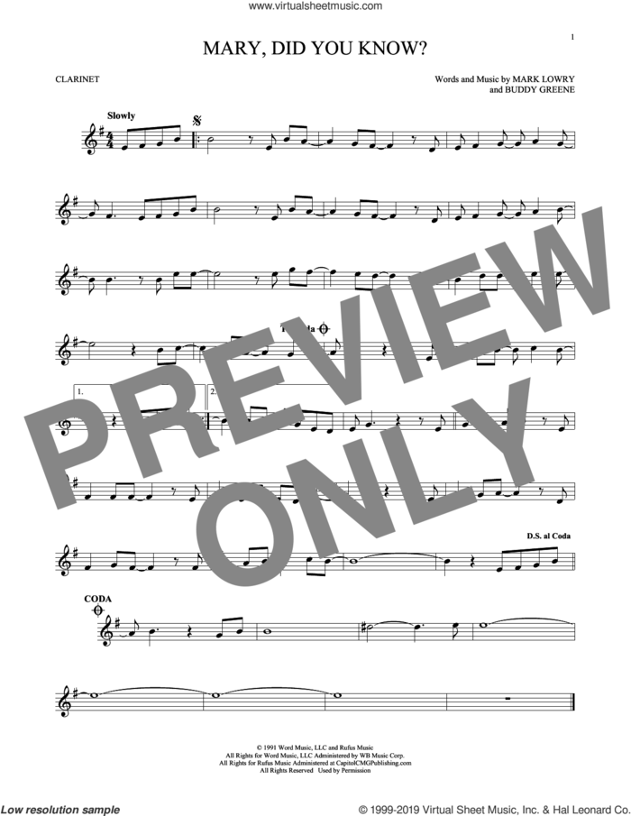 Mary, Did You Know? sheet music for clarinet solo by Buddy Greene and Mark Lowry, intermediate skill level