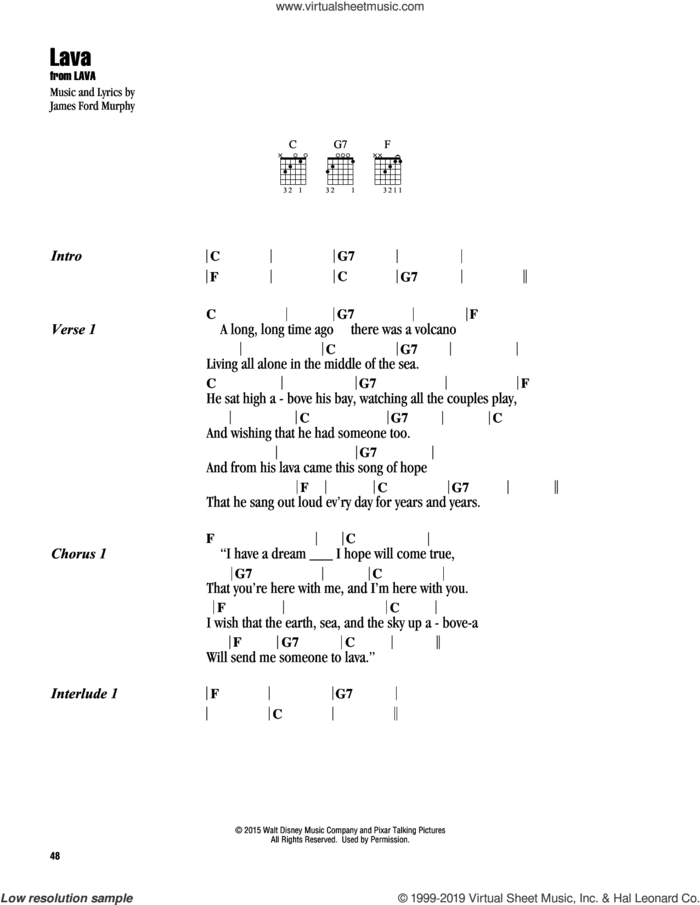 Lava sheet music for guitar (chords) by James Ford Murphy, intermediate skill level
