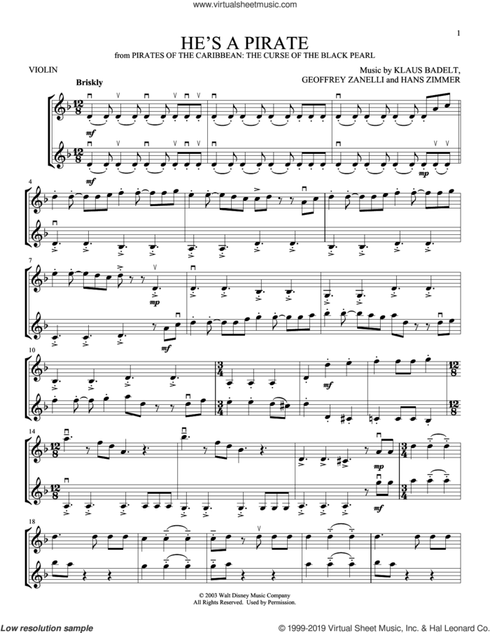 He's A Pirate (from Pirates Of The Caribbean: The Curse Of The Black Pearl) sheet music for two violins (duets, violin duets) by Klaus Badelt, Geoffrey Zanelli and Hans Zimmer, intermediate skill level