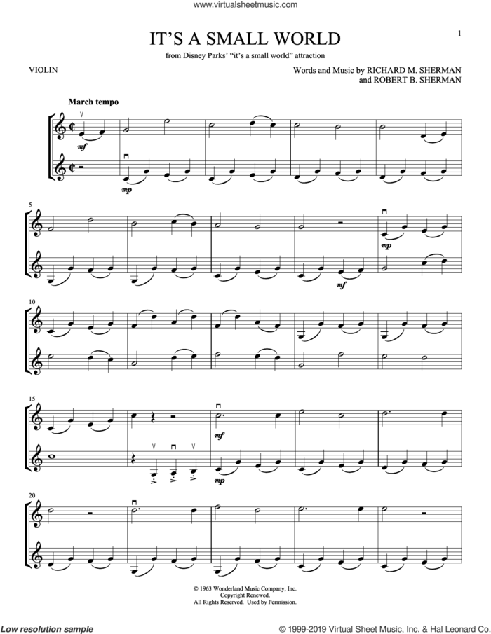 It's A Small World sheet music for two violins (duets, violin duets) by Sherman Brothers, Richard M. Sherman and Robert B. Sherman, intermediate skill level