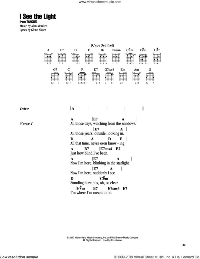 I See The Light (from Disney's Tangled) sheet music for guitar (chords) by Alan Menken and Glenn Slater, intermediate skill level