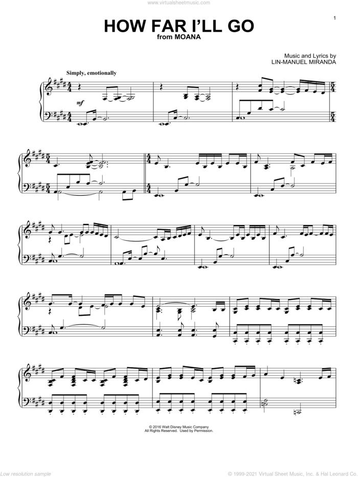 How Far I'll Go (from Moana) sheet music for piano solo by Lin-Manuel Miranda and Alessia Cara, intermediate skill level